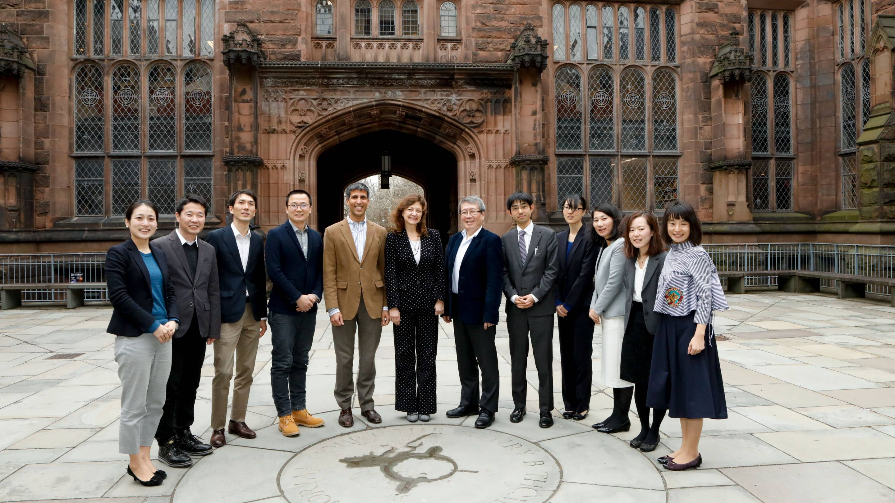 Members of Princeton University stand with a delegation from the University of Tokyo to mark the renewal of the strategic partnership.