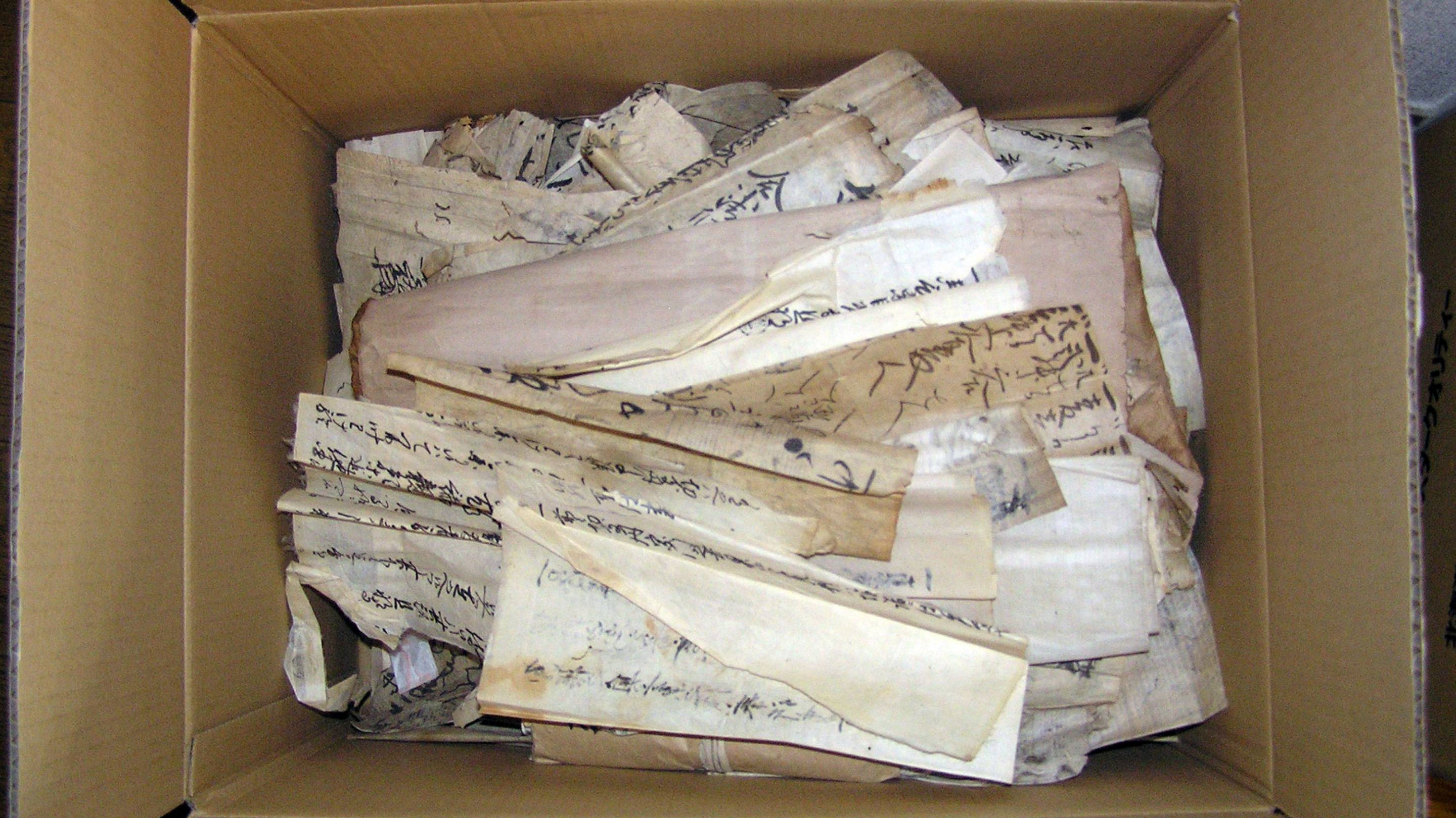 Conlan and Noguchi uncovered rare Japanese medieval documents from Sakuramotobō. Pictured are the documents upon arrival to Princeton. Photo by Setsuko Noguchi, Princeton University Library (PUL)