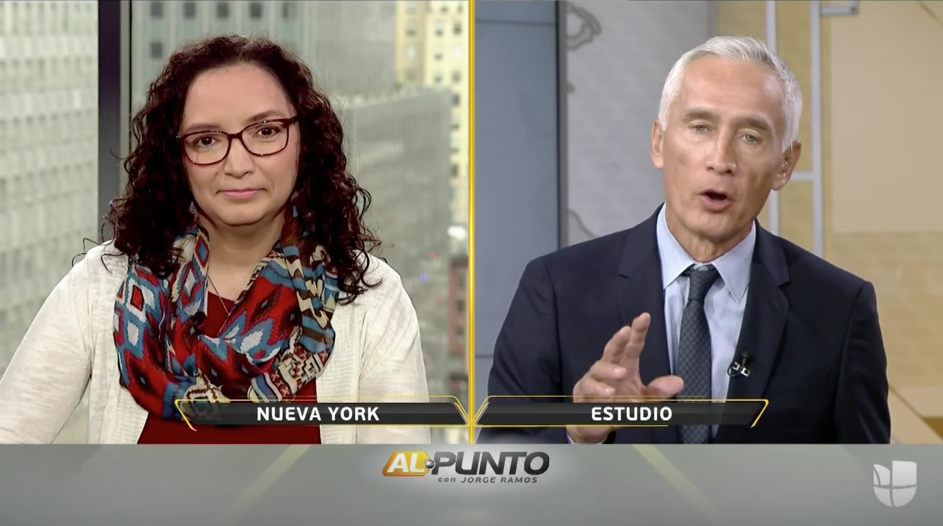 Rosina Lozano speaking with Jorge Ramos on Al Punto