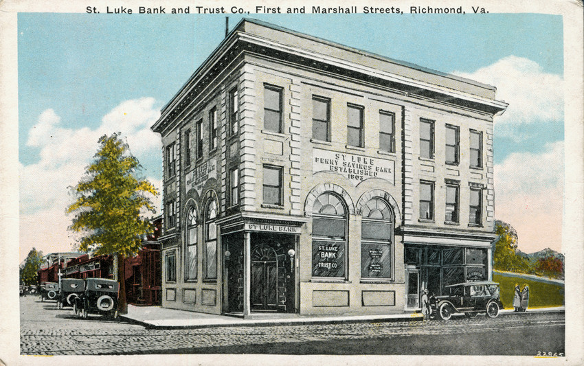 Ppromotional postcard of the bank, c. 1911 celebrating the construction of the new bank building. National Park Service.