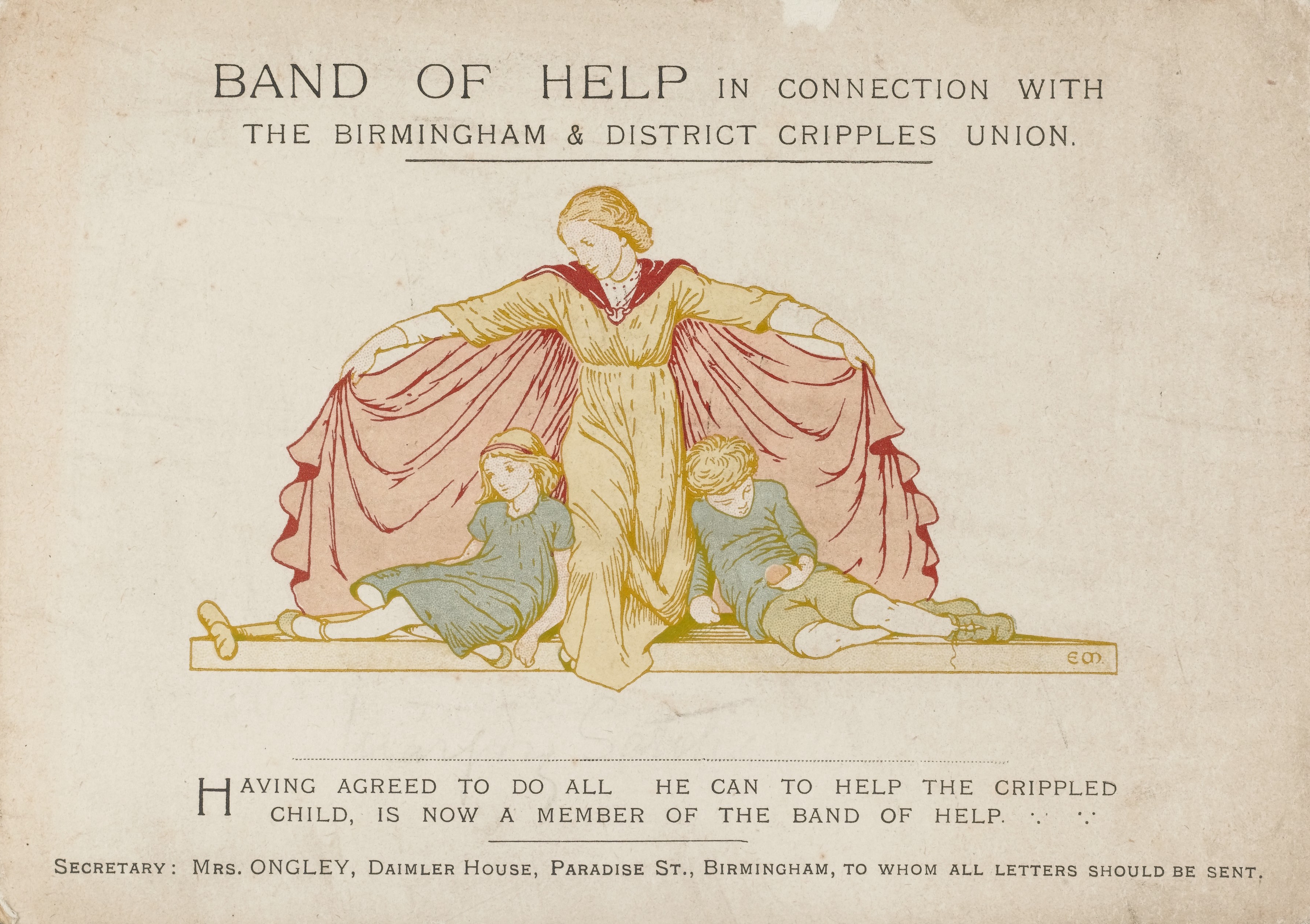 'Band of Help' members certificate. The Birmingham and District Cripples Union. Picture of a lady spreading her cape wide to embrace two crippled children.