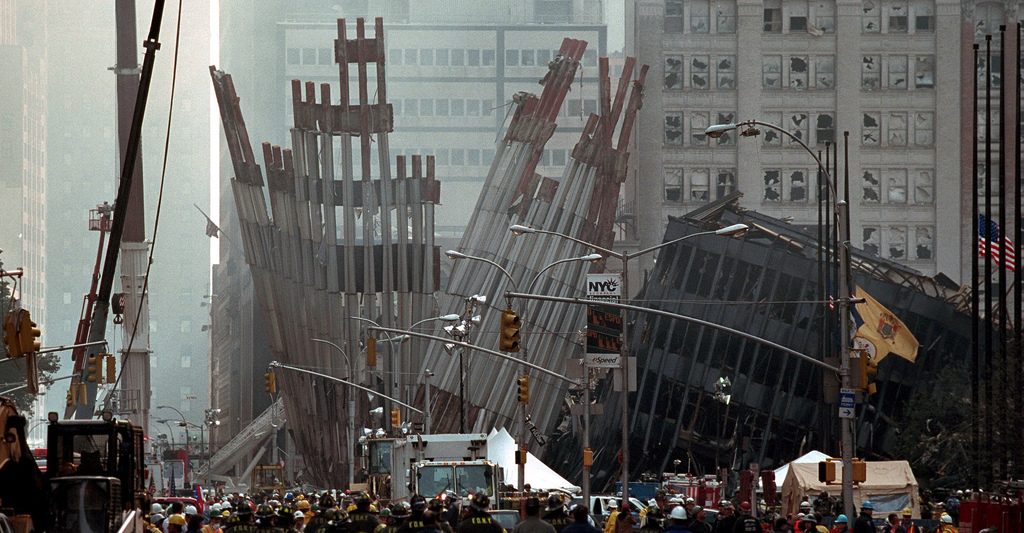 Remains of the World Trade Center Friday, Sept. 14, 2001 in New York City. U.S. National Archives.