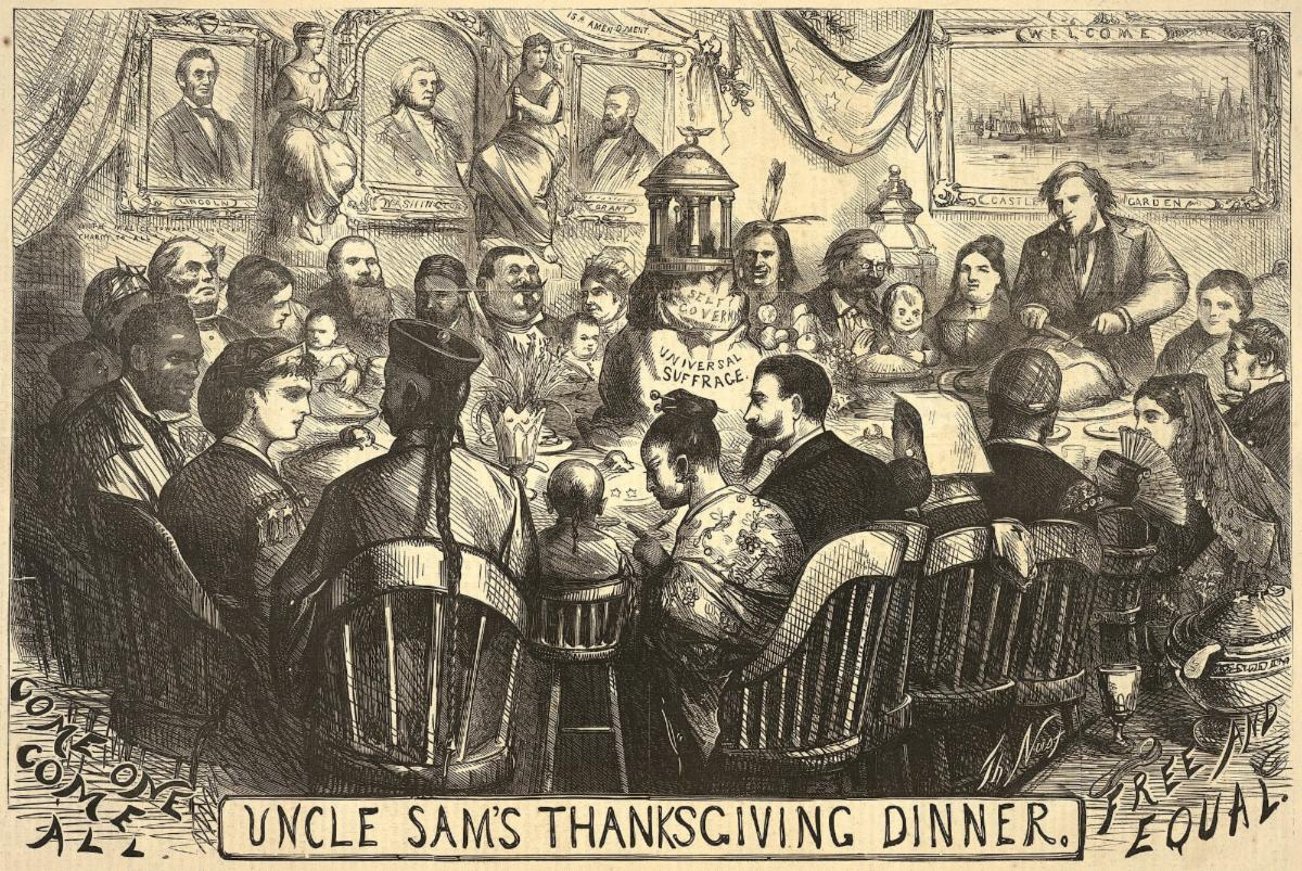"Uncle Sam carving turkey at large table surrounded by men, women and children of different races; centerpiece is labeled ""self-government/universal suffrage""."