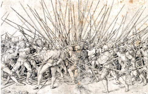 "Swiss and Landsknecht soldiers engage in the exceptionally-fierce hand to hand combat known as ""bad war."" The long spear shafts are their pikes. Hans Holbein the Younger"