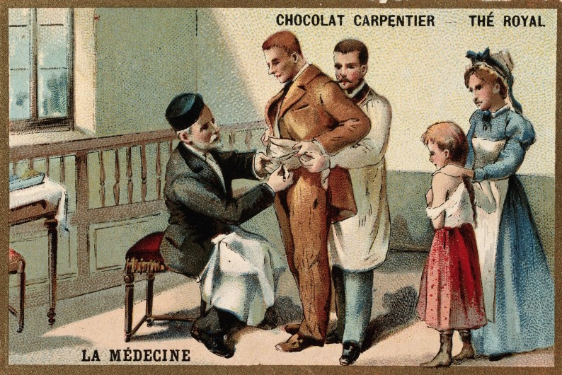 Pasteur inoculating a man with the rabies virus