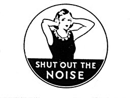 """White woman covering her ears with text below that says """"Shut out the noise"""""""