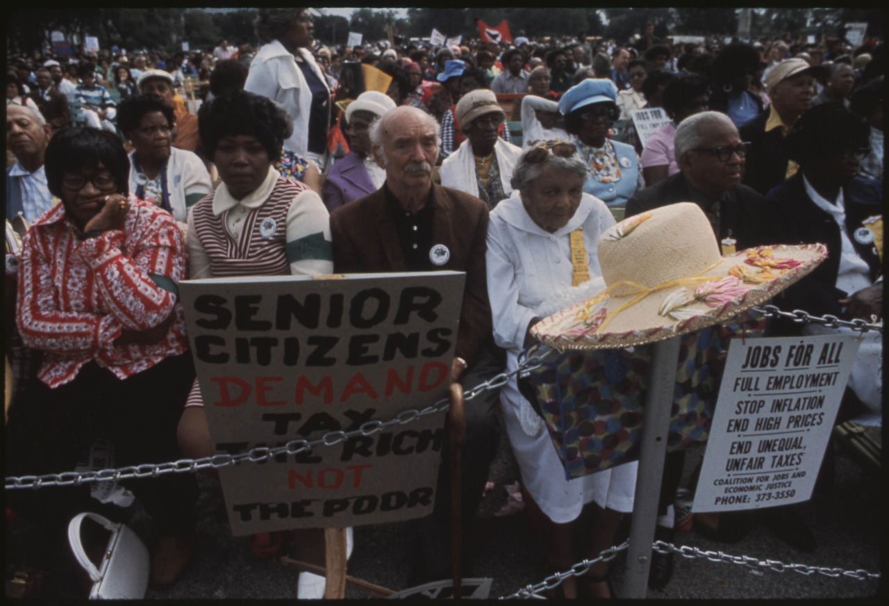 Oct 1973: Senior citizens' march to protest inflation, unemployment, and high taxes