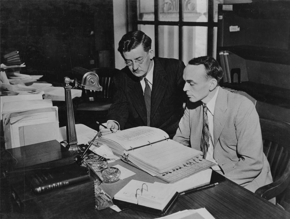 Photograph of Dr. Carl. Lokke and Alton R. Wright in Central Search Room, 1942