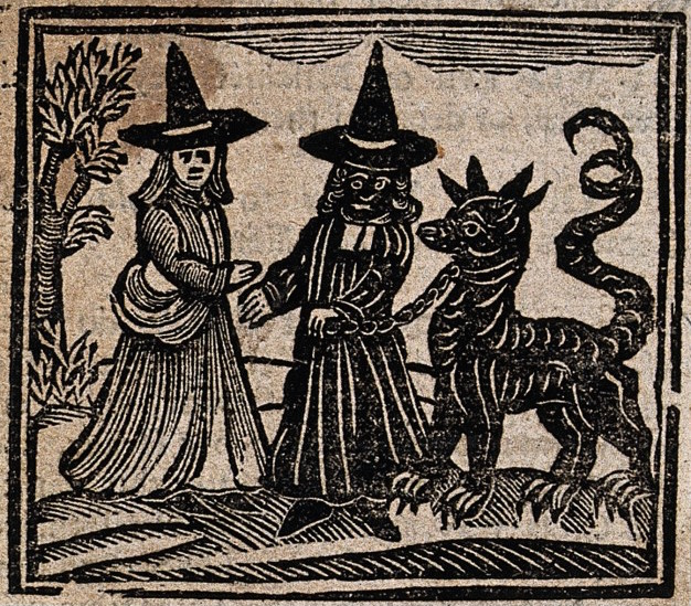 Witchcraft: a white-faced witch meeting a black-faced witch with a great beast. Woodcut, 1720.