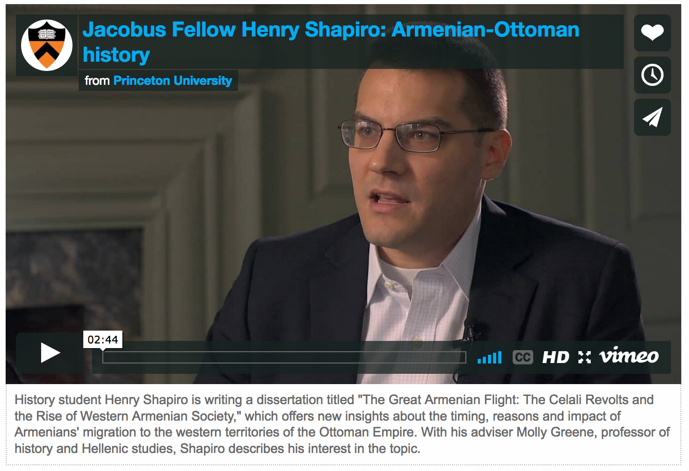 Jacobus Fellow Henry Shapiro: Armenian-Ottoman history. Link to video.