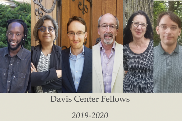 Davis Center Fellows Fall 2019: From left to right: George Aumoithe, Debjani Bhattacharyya, Stuart McManus, Benjamin Nathans, Judith Surkis, and Karl Ubl.