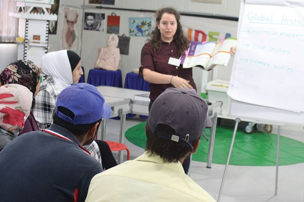Global History course at Camp Azraq in Jordan