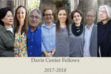 2017-2018 Davis Fellows: From left to right, Mae Ngai, Laurie Wood, Robert Aronowitz, William Deringer, Monica Azzolini, Esther Eidinow, Jeffrey Freedman, and Bryna Goodman.