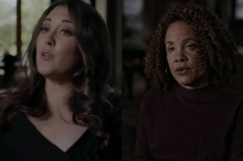 "Video stills of Rhae Lynn Barnes and Tera Hunter from PBS's ""Reconstruction"" documentary"