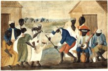 Slaves dancing to a banjo
