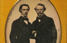Two standing men, arms linked; c. 1840-1860