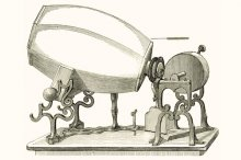 1859 model of Édouard-Léon Scott de Martinville's phonautograph. Wikimedia Commons.