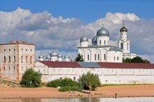 Views of Velikiy Novgorod. The Yuriev Monastery as seen from the river.
